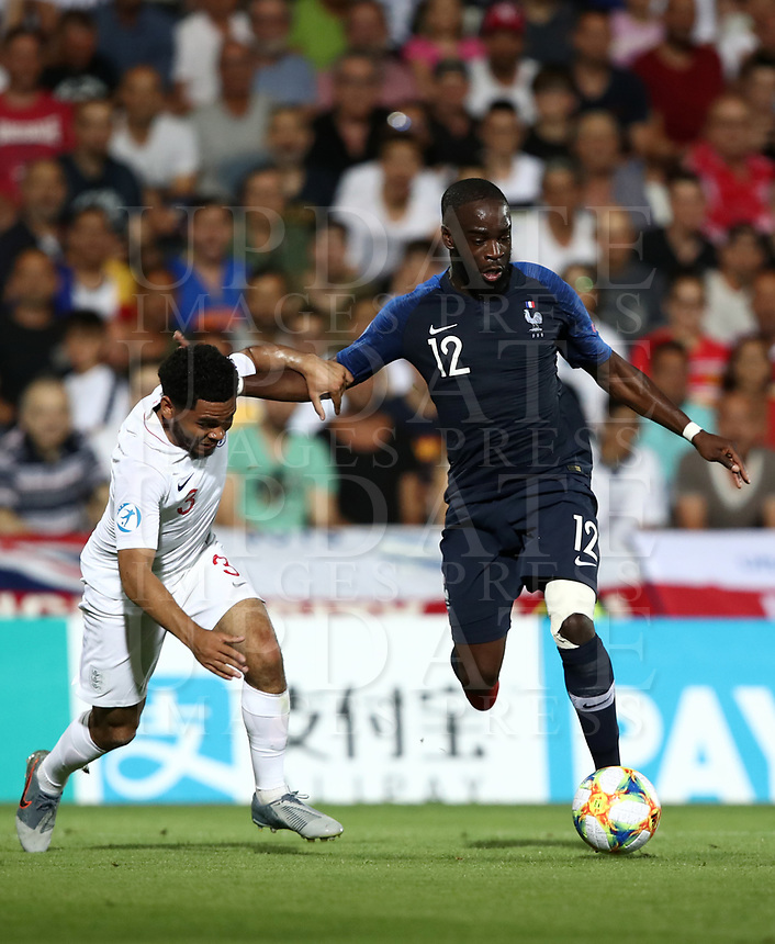 Football: Uefa under 21 Championship 2019, England - France, Dino Manuzzi stadium Cesena Italy on June18, 2019.<br /> France's Jonathan Ikoné (r) in action with England's Jay DaSilva (l) during the Uefa under 21 Championship 2019 football match between England and France at Dino Manuzzi stadium in Cesena, Italy on June18, 2019.<br /> UPDATE IMAGES PRESS/Isabella Bonotto
