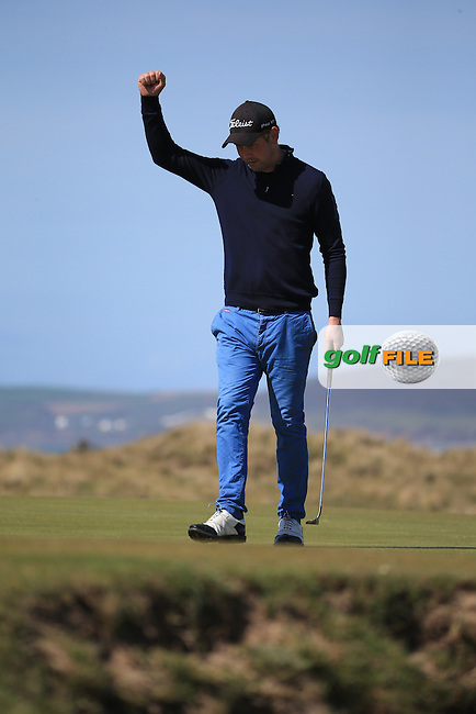 David Ford (Urban Golf / Royal North Devon GC) on the 5th green during the Final Round of the West of England Championship 2016, at Royal North Devon Golf Club, Westward Ho!, Devon  24/04/2016. Picture: Golffile | David Lloyd<br /> <br /> All photos usage must carry mandatory copyright credit (&copy; Golffile | David Lloyd)
