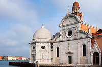 Italy, Venice. San Michele is an island used as cemetery. Church building.