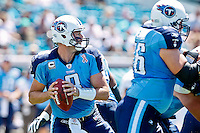 Sept 11, 2011:  Tennessee Titans quarterback Matt Hasselbeck (8) drops back to pass during 2nd half action between the Jacksonville Jaguars and the Tennessee Titans at EverBank Field in Jacksonville, Florida. Jacksonville defeated Tennessee 16-14.........