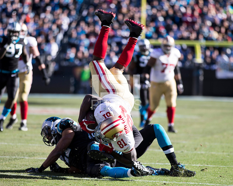 The Carolina Panthers played the San Francisco 49ers at Bank of America Stadium in Charlotte, NC in the NFC divisional playoffs on January 12, 2014.  The 49ers won 23-10.  San Francisco 49ers wide receiver Anquan Boldin (81)