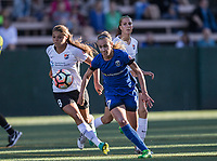 Seattle, WA - Saturday July 22, 2017: Erica Skroski, Beverly Yanez during a regular season National Women's Soccer League (NWSL) match between the Seattle Reign FC and Sky Blue FC at Memorial Stadium.
