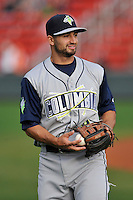 Second baseman Vinny Siena (9) of the Columbia Fireflies warms up before a game against the Greenville Drive on Friday, April 22, 2016, at Fluor Field at the West End in Greenville, South Carolina. Columbia won, 5-3. (Tom Priddy/Four Seam Images)