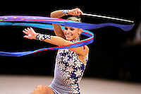 Svetlana Rudalova of Belarus performs here with ribbon and made all four apparatus finals in rhythmic gymnastics at World Games from Duisburg, Germany on July 20-21, 2005.  Event finals in rhythmic gymnastics are only held at World Games. (Photo by Tom Theobald)