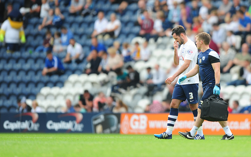 Preston North End's Greg Cunningham walks off the pitch with Preston North End&rsquo;s first team physic Matt Jackson after suffering an injury in the first half<br /> <br /> Photographer Chris Vaughan/CameraSport<br /> <br /> Football - The Football League Sky Bet Championship - Preston North End v Ipswich Town - Saturday 22nd August 2015 - Deepdale - Preston<br /> <br /> &copy; CameraSport - 43 Linden Ave. Countesthorpe. Leicester. England. LE8 5PG - Tel: +44 (0) 116 277 4147 - admin@camerasport.com - www.camerasport.com