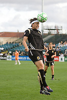 Tiffany Weimer heads the ball. FC Gold Pride defeated Sky Blue FC 1-0 at Buck Shaw Stadium in Santa Clara, California on May 3, 2009.