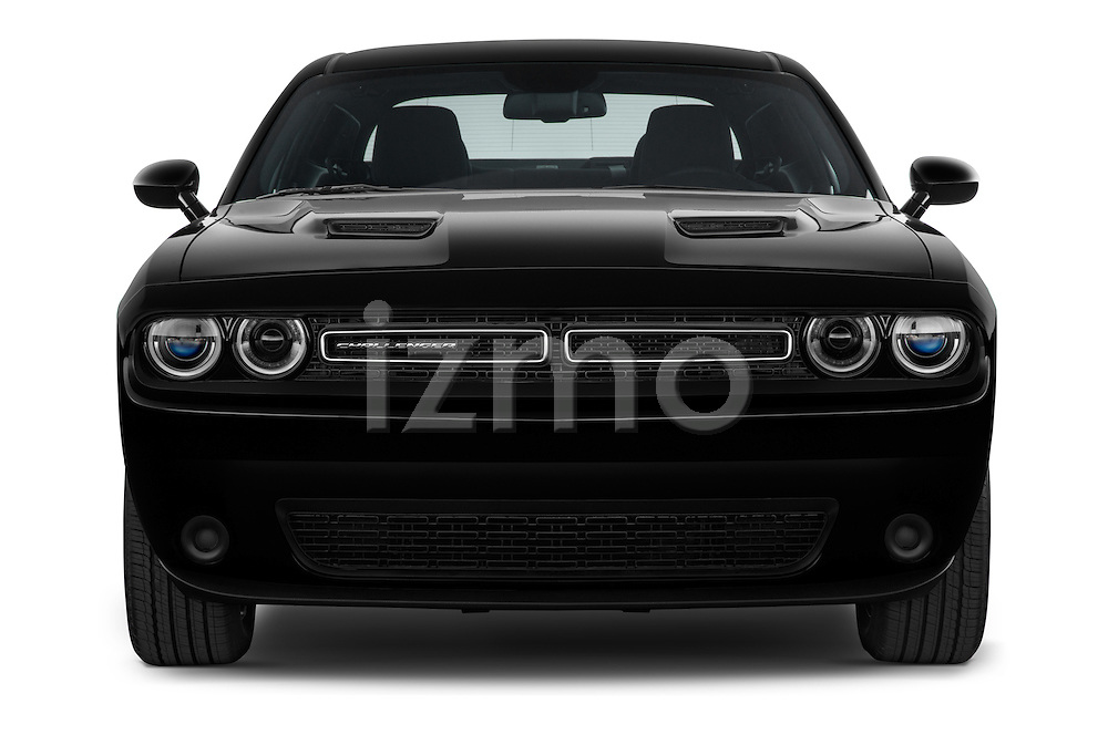 Car photography straight front view of a 2017 Dodge Challenger SXT 2 Door Coupe Front View
