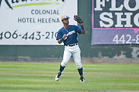 Helena Brewers center fielder Pablo Abreu (12) during a Pioneer League game against the Grand Junction Rockies at Kindrick Legion Field on August 19, 2018 in Helena, Montana. The Grand Junction Rockies defeated the Helena Brewers by a score of 6-1. (Zachary Lucy/Four Seam Images)
