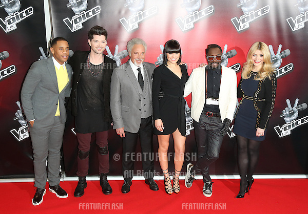 Reggie Yates, Danny O'Donoghue, Sir Tom Jones, Jessie J, Will.I.Am, Holly Willoughby at the BBC's The Voice UK launch photocall held at The Soho Hotel, London. 11/03/2013 Picture by: Henry Harris / Featureflash