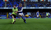 Sheffield United's Chris Basham battles with Ipswich Town's Freddie Sears<br /> <br /> Photographer Hannah Fountain/CameraSport<br /> <br /> The EFL Sky Bet Championship - Ipswich Town v Sheffield United - Saturday 22nd December 2018 - Portman Road - Ipswich<br /> <br /> World Copyright © 2018 CameraSport. All rights reserved. 43 Linden Ave. Countesthorpe. Leicester. England. LE8 5PG - Tel: +44 (0) 116 277 4147 - admin@camerasport.com - www.camerasport.com