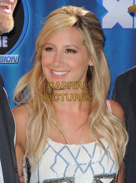 "Ashley Tisdale.""Phineas and Ferb"" Los Angeles Premiere held at the El Capitan Theatre, Hollywood, California, USA..August 3rd, 2011.headshot portrait white blue sequins sequined smiling                                                              .CAP/RKE/DVS.©DVS/RockinExposures/Capital Pictures."