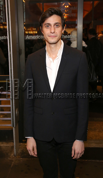 """Gideon Glick attends the Broadway Opening Night Performance of """"John Lithgow: Stories by Heart"""" at the American Airlines Theatre on January 11, 2018 in New York City."""