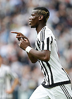 Calcio, Serie A: Juventus vs Palermo. Torino, Juventus Stadium, 17 aprile 2016.<br /> Juventus&rsquo; Paul Pogba celebrates after scoring during the Italian Serie A football match between Juventus and Palermo at Turin's Juventus Stadium, 17 April 2016.<br /> UPDATE IMAGES PRESS/Isabella Bonotto