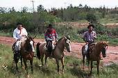 Serra do Gaucha, Rio Grande do Sul, Brazil. Three gaucho cowboys on horseback.