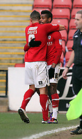 Pictured: Ricardo Vaz Te (R) of Barnsley celebrating his opening goal with team mate Craig Davies (L).  Saturday 07 January 2012<br /> Re: FA Cup football Barnsley FC v Swansea City FC at the Oakwell Stadium, south Yorkshire.