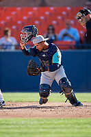 Lynchburg Hillcats catcher Angel Lopez Alvarez (20) during the first game of a doubleheader against the Frederick Keys on June 12, 2018 at Nymeo Field at Harry Grove Stadium in Frederick, Maryland.  Frederick defeated Lynchburg 2-1.  (Mike Janes/Four Seam Images)