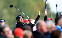 Kiradech Aphibarnrat of Thailand tees off during Round 4 of the 2015 British Masters at the Marquess Course, Woburn, in Bedfordshire, England on 11/10/15.<br /> Picture: Richard Martin-Roberts | Golffile