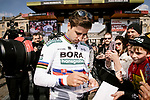 Defending champion Peter Sagan (SVK) Bora-Hansgrohe at the team presentations in Compiegne before Paris-Roubaix 2019, Compuiegne, France. 13th April 2019<br /> Picture: ASO/Pauline Ballet | Cyclefile<br /> All photos usage must carry mandatory copyright credit (© Cyclefile | ASO/Pauline Ballet)