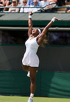 27-06-13, England, London,  AELTC, Wimbledon, Tennis, Wimbledon 2013, Day four, Serena Williams (USA) jumps of joy<br /> <br /> <br /> <br /> Photo: Henk Koster