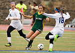 MIDDLETOWN, CT-111817JS21- Holy Cross' Adalisse Padilla (10) steals the ball from Old Lyme's Caroline Wallace (18) during their Class S state final game Saturday at Middletown High School.<br /> Jim Shannon Republican-American