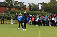 Thomas Sloman (GB&I) and Thomas Plumb (GB&I) on the 5th during the Foursomes at the Walker Cup, Royal Liverpool Golf CLub, Hoylake, Cheshire, England. 07/09/2019.<br /> Picture Thos Caffrey / Golffile.ie<br /> <br /> All photo usage must carry mandatory copyright credit (© Golffile | Thos Caffrey)