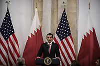 Emir Sheikh Tamim bin Hamad Al Thani of Qatar speaks during a dinner hosted by the Secretary of the Treasury in his honor July 8, 2019 in Washington, DC. Photo Credit: Oliver Contreras/CNP/AdMedia