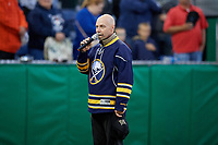 Buffalo Sabres legendary anthem singer Doug Allen performs before a Batavia Muckdogs NY-Penn League game against the Auburn Doubledays on June 14, 2019 at Dwyer Stadium in Batavia, New York.  Batavia defeated 2-0.  (Mike Janes/Four Seam Images)