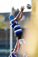 Zach Mercer of Bath United wins the ball at a lineout. Aviva A-League match, between Bath United and Saracens Storm on September 1, 2017 at the Recreation Ground in Bath, England. Photo by: Patrick Khachfe / Onside Images
