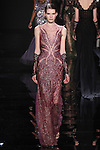 "Model walks runway in a wine embroidered column dress with lace underlining from the Reem Acra Fall 2016 ""The Secret World of The Femme Fatale"" collection, at NYFW: The Shows Fall 2016, during New York Fashion Week Fall 2016."