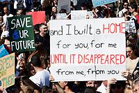 Banners save our future<br /> Rome April 19th 2019. Fridays for Future Climate Strike in Rome, Piazza del Popolo.<br /> photo di Samantha Zucchi/Insidefoto