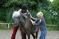 Shetland-Pony, Shetlandpony, Shetty, Shetti, Ponyhof, Shetland - Pony wird eingeritten, Ponyhof, Kind und Reitlehrerin satteln auf, Sattel wird festgezogen, Reiten
