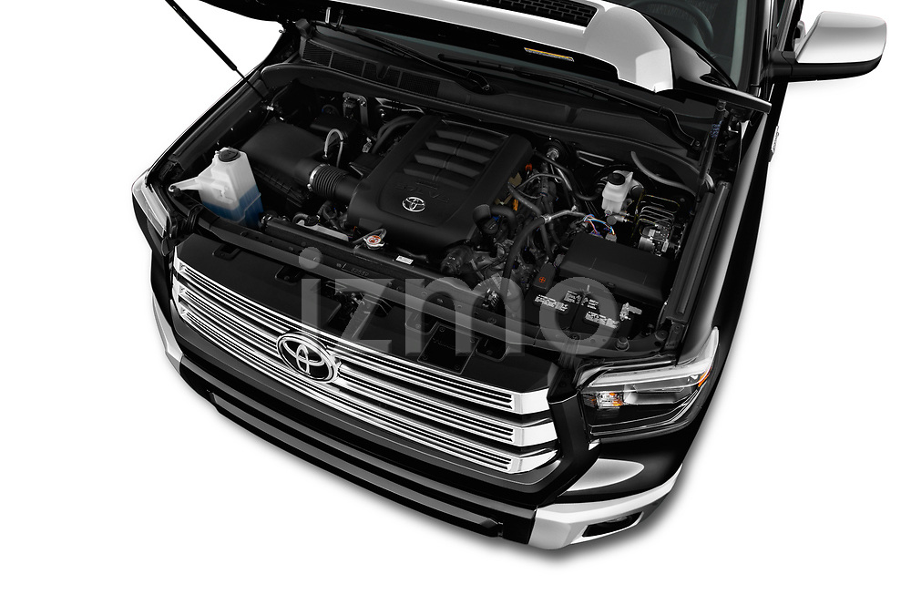 Car Stock 2018 Toyota Tundra Limited-Crew-Max-Short-Bed 4 Door Pickup Engine  high angle detail view