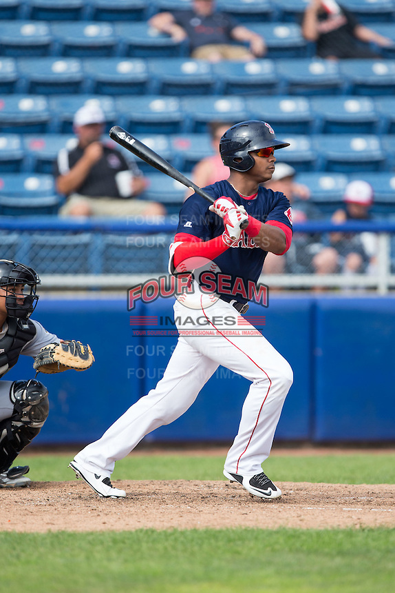 Jose Sermo (31) of the Salem Red Sox follows through on his swing against the Lynchburg Hillcats at LewisGale Field at Salem Memorial Baseball Stadium on August 7, 2016 in Salem, Virginia.  The Red Sox defeated the Hillcats 11-2.  (Brian Westerholt/Four Seam Images)