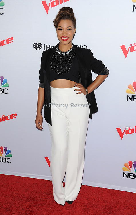 India Carney arriving NBC's The Voice Season 8 Red Carpet Event held at the Pacific Design Center Los Angeles CA. April 23, 2015