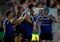 Bath Rugby's Rhys Priestland celebrates scoring his side's first try with team mates<br /> <br /> Photographer Bob Bradford/CameraSport<br /> <br /> Gallagher Premiership - Bath Rugby v Exeter Chiefs - Friday 5th October 2018 - The Recreation Ground - Bath<br /> <br /> World Copyright &copy; 2018 CameraSport. All rights reserved. 43 Linden Ave. Countesthorpe. Leicester. England. LE8 5PG - Tel: +44 (0) 116 277 4147 - admin@camerasport.com - www.camerasport.com