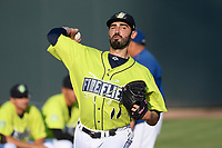 Starting pitcher Colin Holderman (11) of the Columbia Fireflies warms up before a game against the Augusta GreenJackets on Friday, May 31, 2019, at Segra Park in Columbia, South Carolina. Augusta won, 8-6. (Tom Priddy/Four Seam Images)
