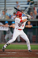 Auburn Doubledays right fielder Jacob Rhinesmith (18) at bat during a game against the Hudson Valley Renegades on September 5, 2018 at Falcon Park in Auburn, New York.  Hudson Valley defeated Auburn 11-5.  (Mike Janes/Four Seam Images)