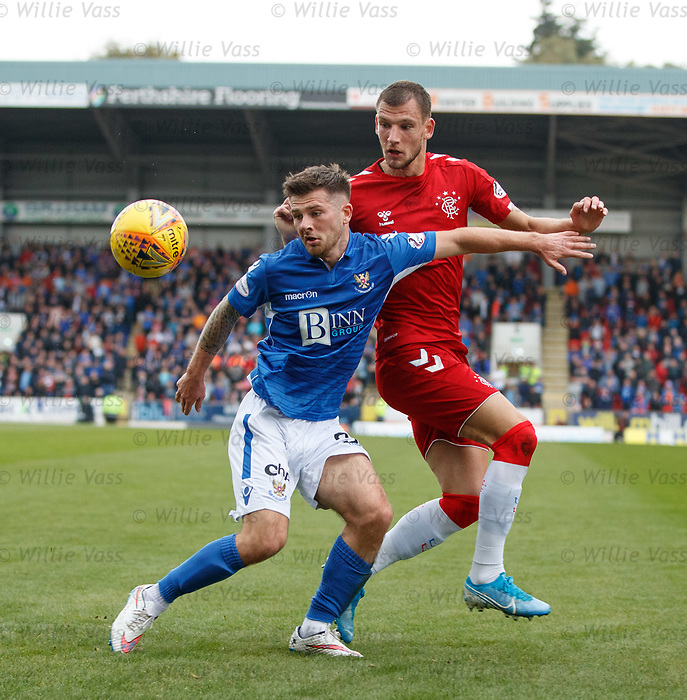 22.09.2019 St Johnstone v Rangers: Matthew Kennedy and Borna Barisic