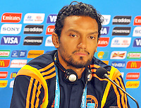 BELLO HORIZONTE  - BRASIL -13-06-2014. Abel Aguilar durante la conferencia de prensa que ofrecio la selccion Colombia de futbol antes de su encuentro contra Grecia en el estadio  Mineirao  .  / Abel Aguilar during the news conference that offered the Select function Colombia football before their match against Greece at Mineirao stadium. Photo: VizzorImage / Alfredo Gutierrez / Contribuidor