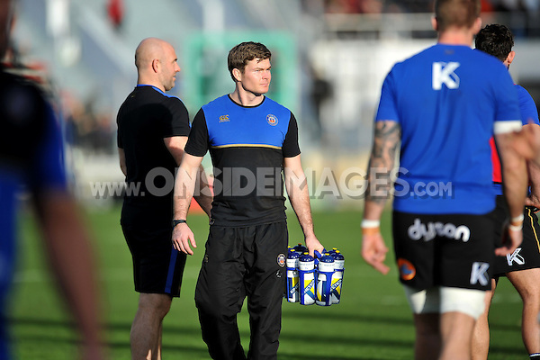 First Team Strength and Conditioning Coach Guy Lewis looks on during the pre-match warm-up. European Rugby Champions Cup match, between RC Toulon and Bath Rugby on January 10, 2016 at the Stade Mayol in Toulon, France. Photo by: Patrick Khachfe / Onside Images