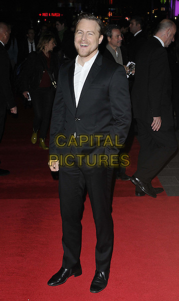 Samuel West.The 'Hyde Park On Hudson' Centrepiece gala screening, the 56th BFI London Film Festival day 7, Empire cinema, Leicester Square, London, England..October 16th, 2012.full length black shirt white suit hand in pocket  smiling laughing .CAP/CAN.©Can Nguyen/Capital Pictures.