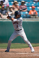 Lancaster JetHawks second baseman Alan Trejo (2) at bat during a California League game against the San Jose Giants at San Jose Municipal Stadium on May 13, 2018 in San Jose, California. San Jose defeated Lancaster 3-0. (Zachary Lucy/Four Seam Images)