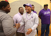 NWA Democrat-Gazette/DAVID GOTTSCHALK Derrick Wise (right) is congratulated after signing a letter of intent to play football Wednesday, February 6, 2019, at Northside High School in Fort Smith.