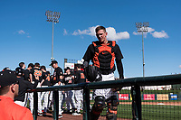Oregon State Beavers catcher Adley Rutschman (35) before a game against the Gonzaga Bulldogs on February 16, 2019 at Surprise Stadium in Surprise, Arizona. Oregon State defeated Gonzaga 9-3. (Zachary Lucy/Four Seam Images via AP)