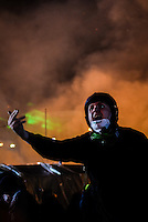 A protester seen yelling during nightly clashes.  Kiev, Ukraine