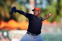 Detroit Tigers relief pitcher Gregory Soto (65) delivers a pitch during a Grapefruit League Spring Training game against the Baltimore Orioles on March 3, 2019 at Ed Smith Stadium in Sarasota, Florida.  Baltimore defeated Detroit 7-5.  (Mike Janes/Four Seam Images)