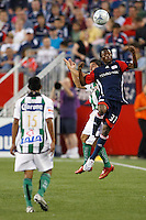 New England Revolution midfielder Sainey Nyassi (31) and Santos Laguna defender Osmar Mares (20). The New England Revolution defeated Santos Laguna 1-0 during a Group B match of the 2008 North American SuperLiga at Gillette Stadium in Foxborough, Massachusetts, on July 13, 2008.
