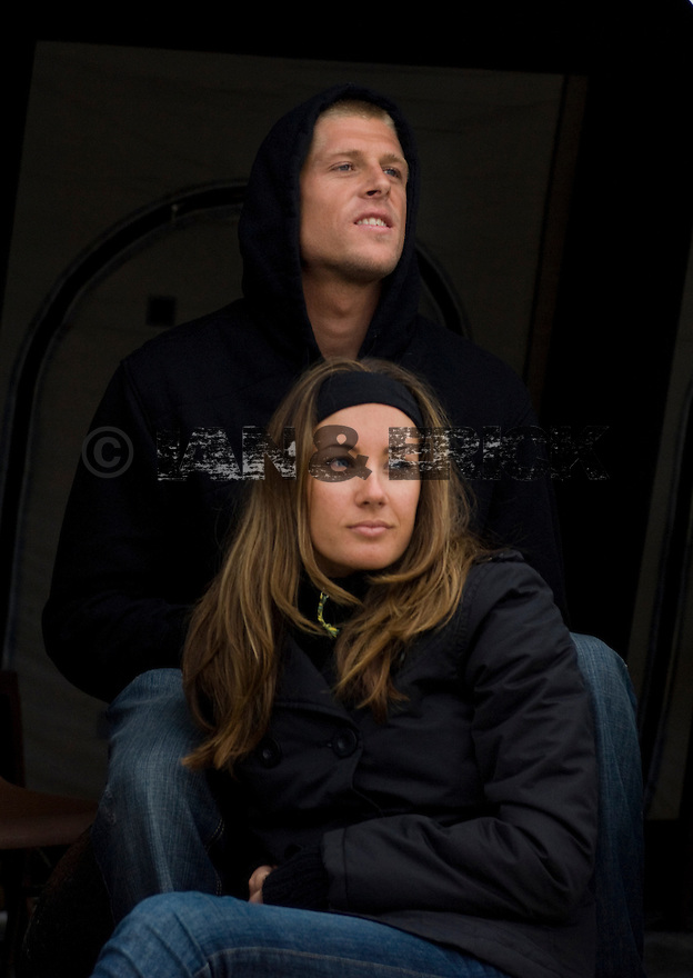 Australian Mick Fanning and wife at the Quiksilver Pro in Hossegor, France.