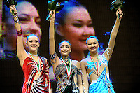 (L-R) Vera Sessina, Evgeniya Kanaeva of Russia with Aliya Yussupova of Kazakhstan celebrate medals in event finals at 2009 Budapest World Cup on March 8, 2009 at Budapest, Hungary.  Photo by Tom Theobald.