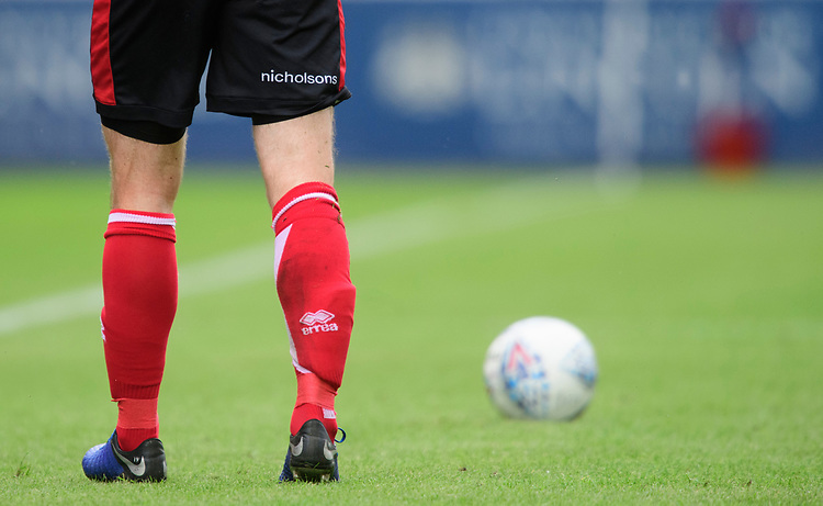 A close up of the Nicholsons logo on the shorts of Lincoln City's home kit<br /> <br /> Photographer Chris Vaughan/CameraSport<br /> <br /> Football Pre-Season Friendly - Lincoln City v Sheffield Wednesday - Saturday July 13th 2019 - Sincil Bank - Lincoln<br /> <br /> World Copyright © 2019 CameraSport. All rights reserved. 43 Linden Ave. Countesthorpe. Leicester. England. LE8 5PG - Tel: +44 (0) 116 277 4147 - admin@camerasport.com - www.camerasport.com